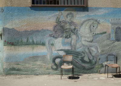 Mural of Helena on outside church wall