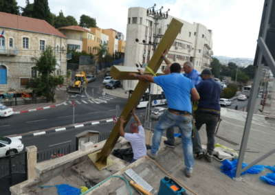Lifting Cross into position